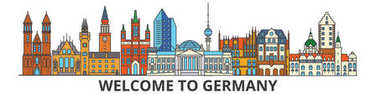 Germany outline skyline, german flat thin line icons, landmarks, illustrations. Germany cityscape, german travel city vector banner. Urban silhouette