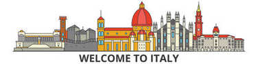 Italy outline skyline, italian flat thin line icons, landmarks, illustrations. Italy cityscape, italian travel city vector banner. Urban silhouette