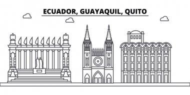 Ecuador, Guayaquil, Quito architecture skyline buildings, silhouette, outline landscape, landmarks. Editable strokes. Urban skyline illustration. Flat design vector, line concept