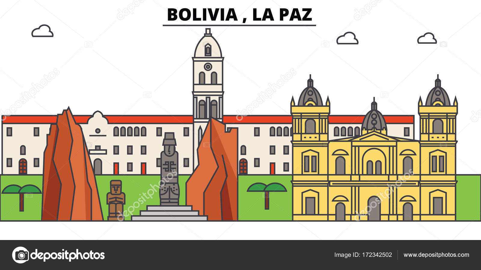 bolivia la paz outline skyline bolivian flat thin line icons landmarks illustrations