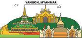 Fotografie Yangon, Myanmar Umriss Skyline, birmanischen flache dünne Linie Symbole, Sehenswürdigkeiten, Illustrationen. Yangon, Myanmar Stadtbild, birmanischen Vektor Reisen Stadt Banner. Urbanen silhouette
