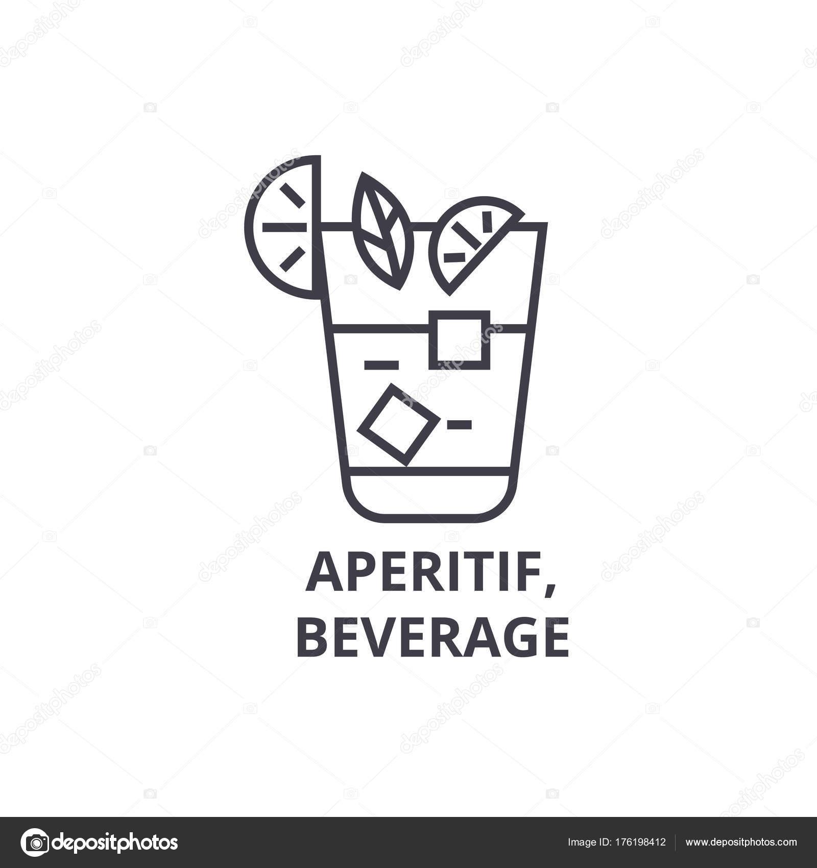 Aperitif, Getränke Liniensymbol, Umriss Zeichen, lineare Symbol ...