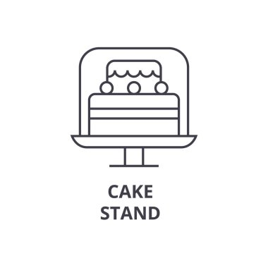 cake stand line icon, outline sign, linear symbol, vector, flat illustration