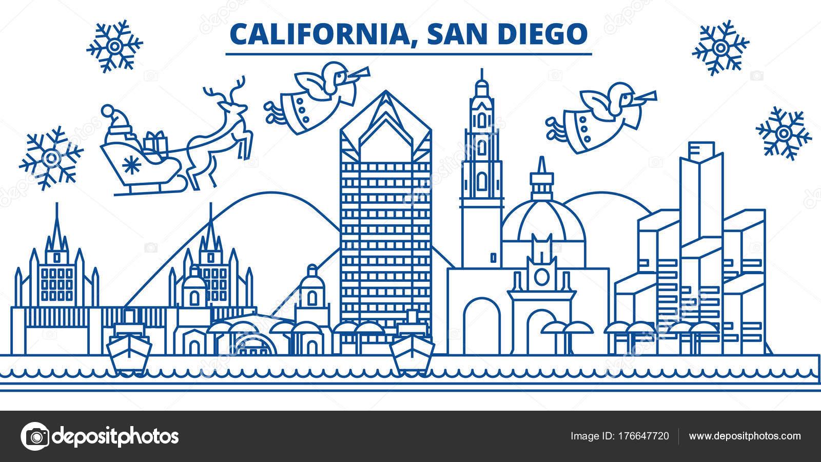 USA, California, San Diego Winter Skyline der Stadt. Frohe ...