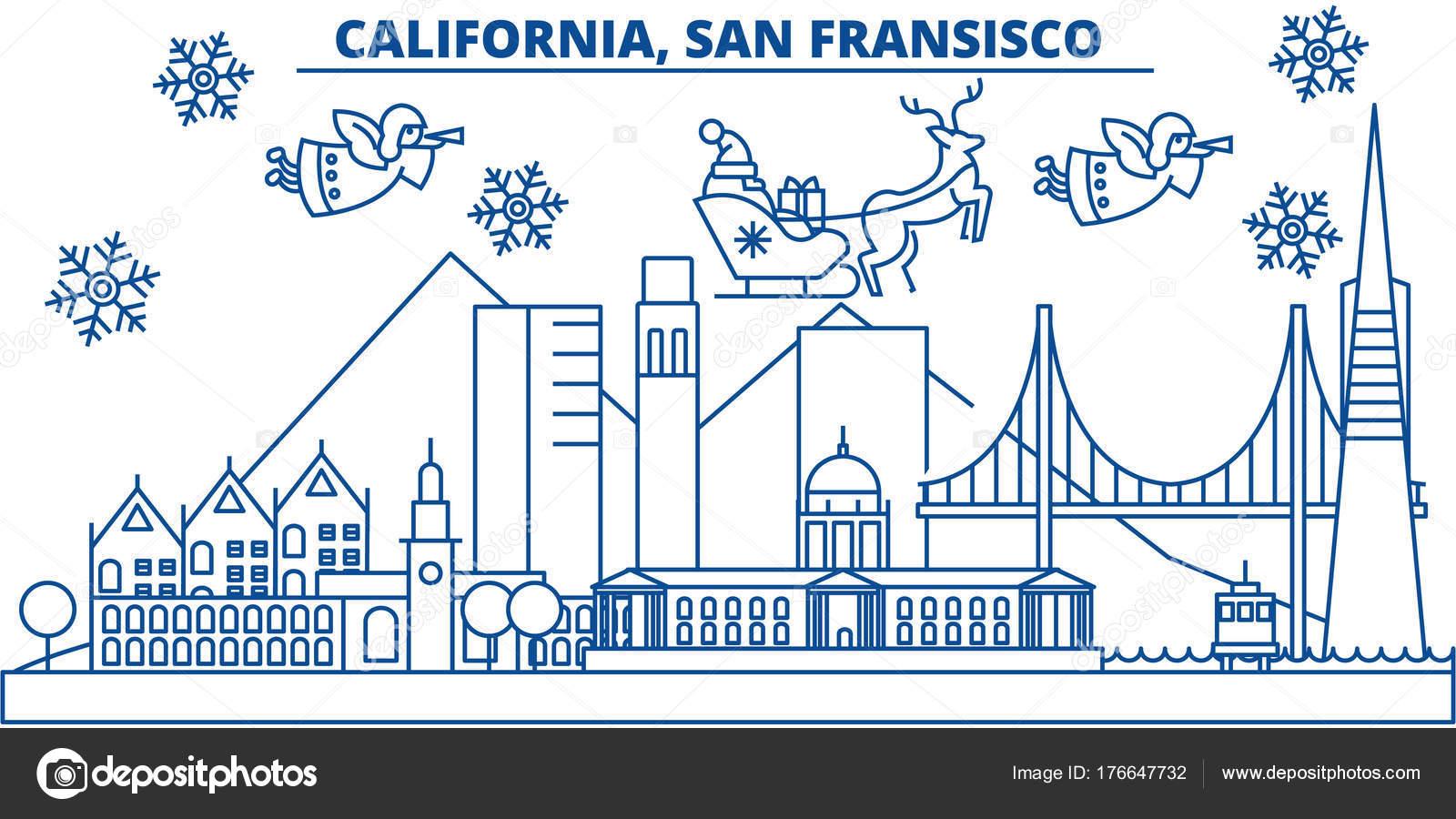 USA, California, San Francisco Winter Skyline der Stadt. Frohe ...