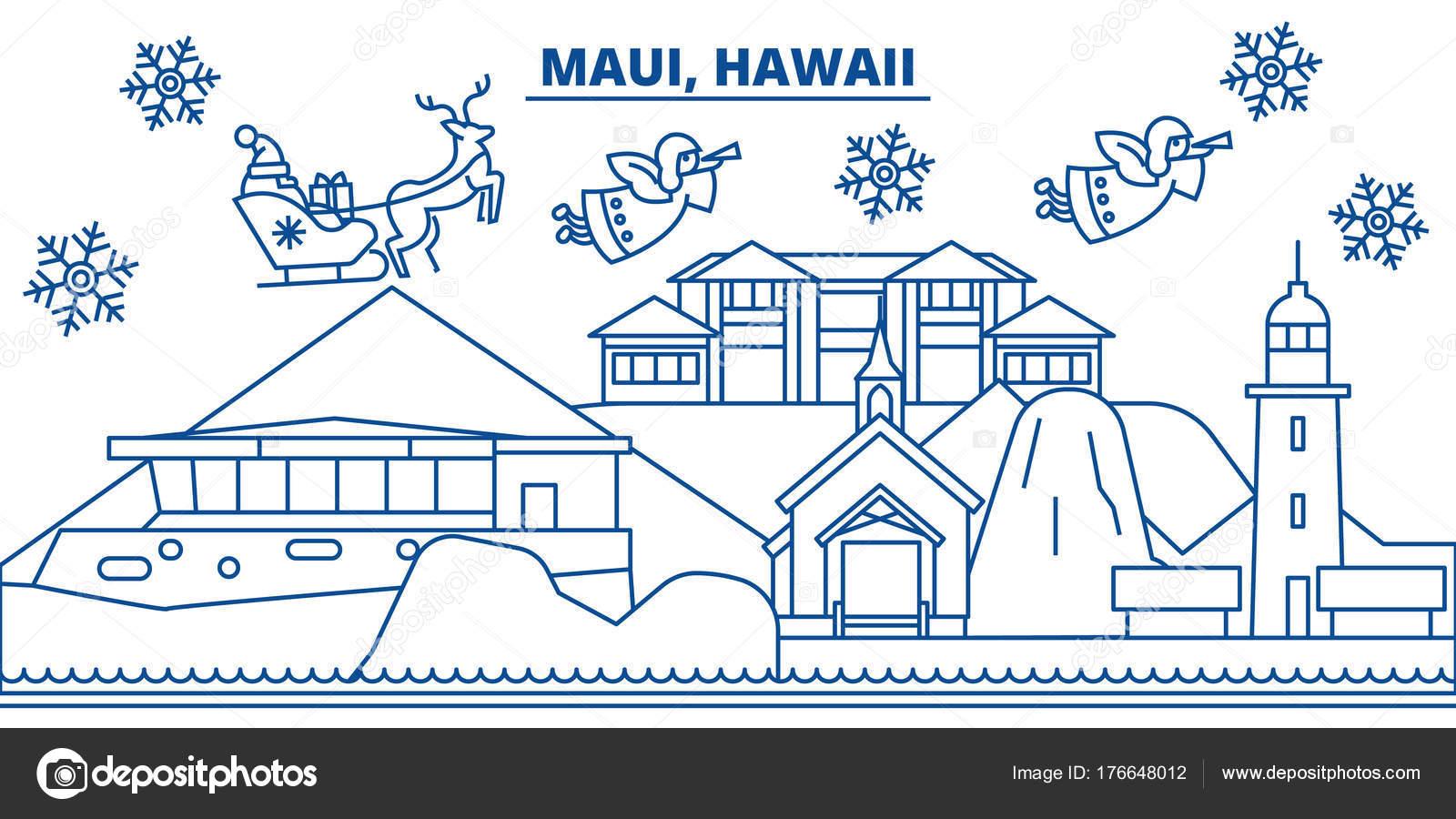Frohe Weihnachten Hawaii.Usa Hawaii Maui Winter Skyline Der Stadt Frohe Weihnachten Und