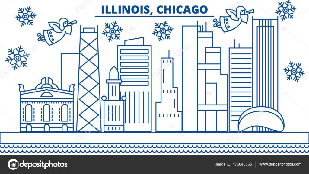 Usa Illinois Chicago Winter Skyline Der Stadt Frohe Weihnachten