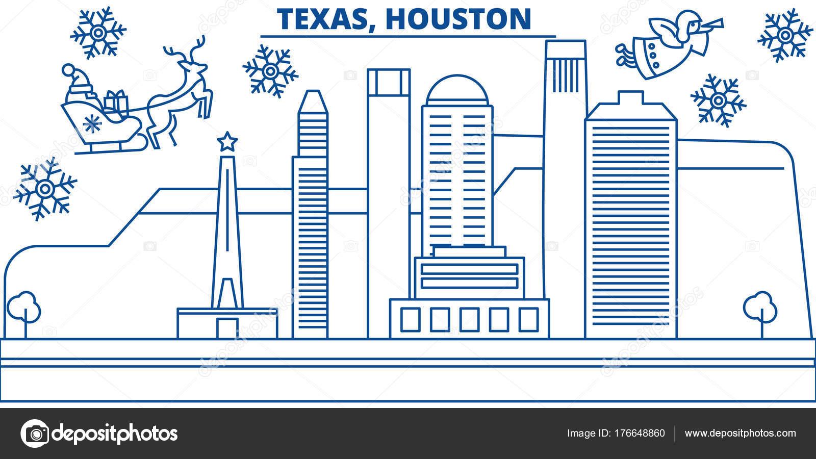 Horizonte de la ciudad de Estados Unidos, Texas, Houston invierno ...
