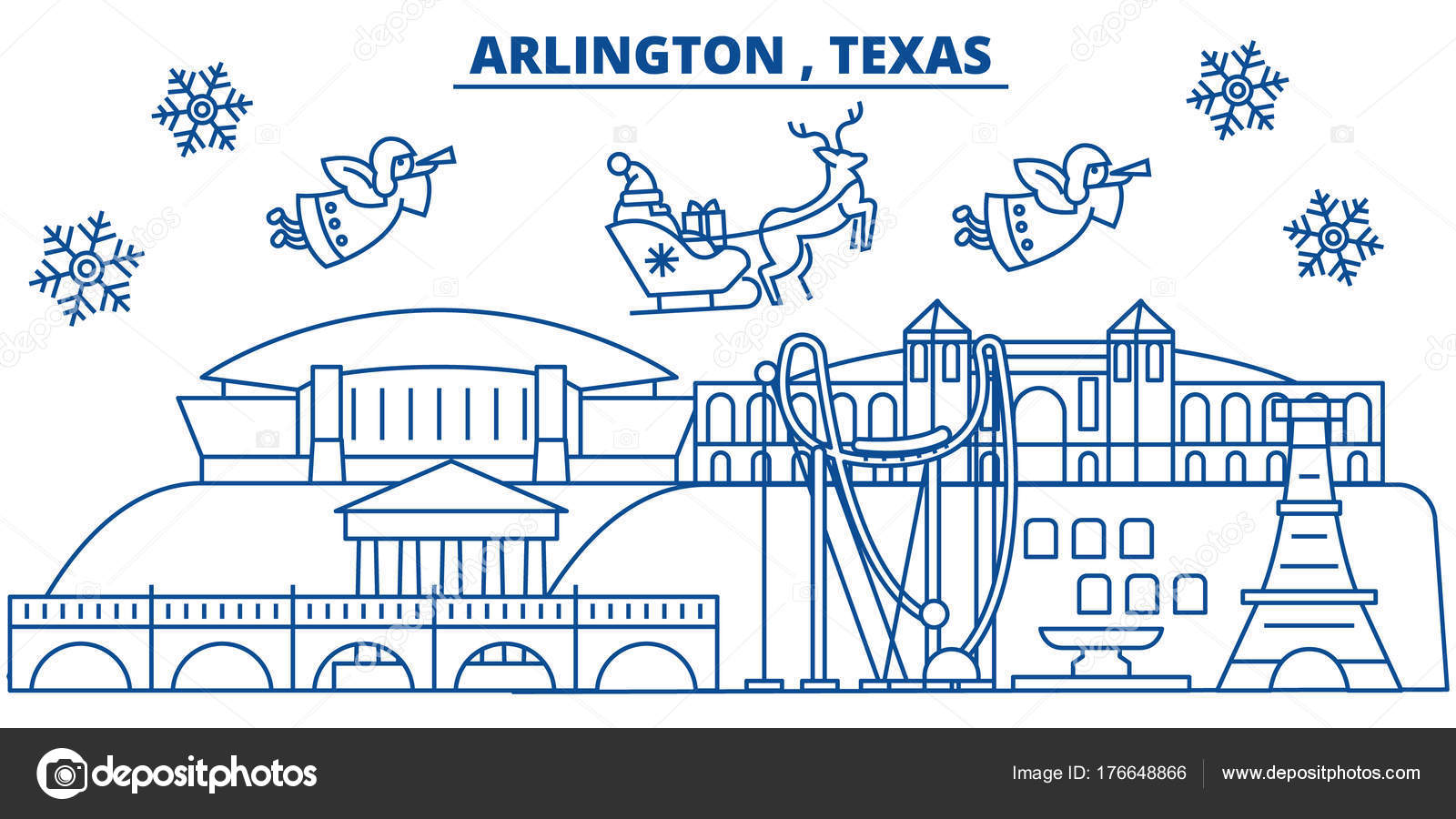 usa texas arlington winter city skyline merry christmas and happy new year decorated