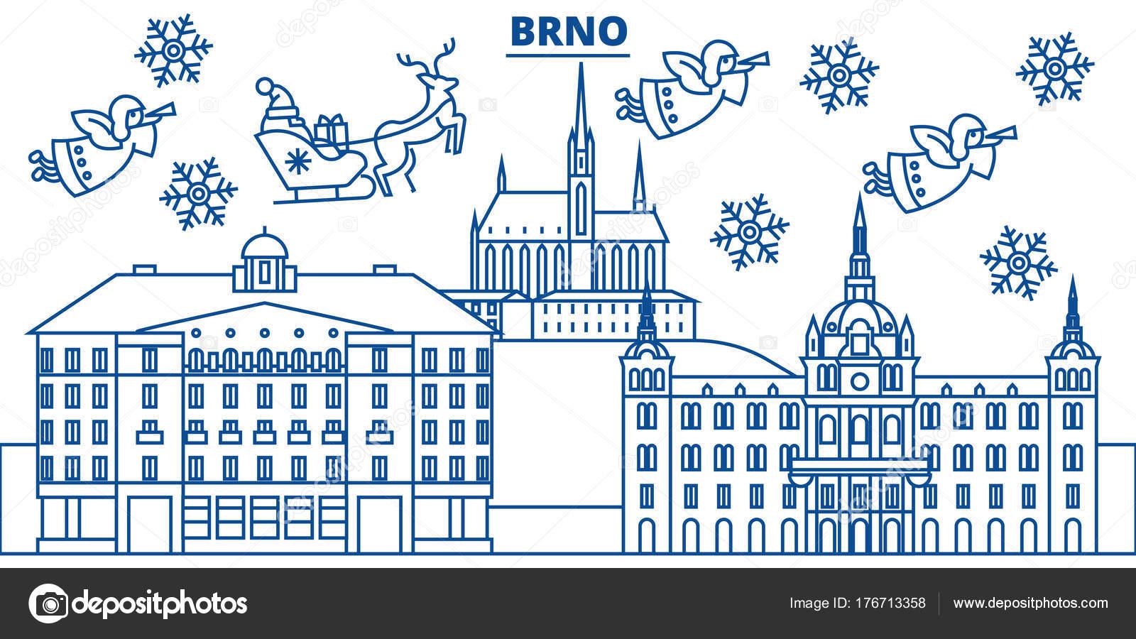 República Checa, horizonte de la ciudad de Brno invierno. Feliz ...