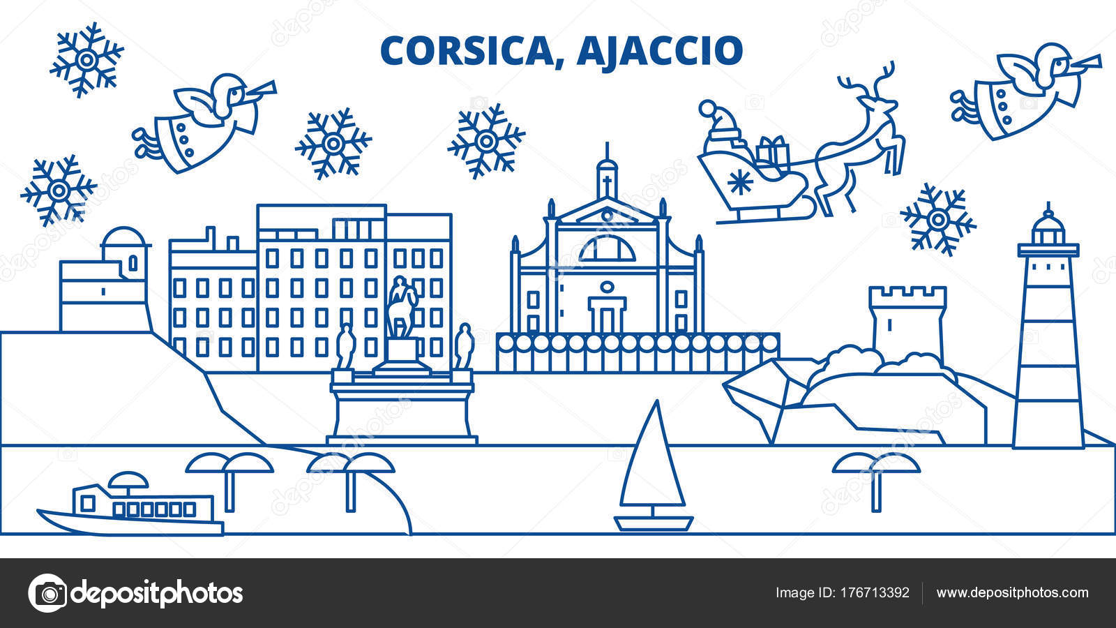 France, Ajaccio winter city skyline. Merry Christmas, Happy New Year on