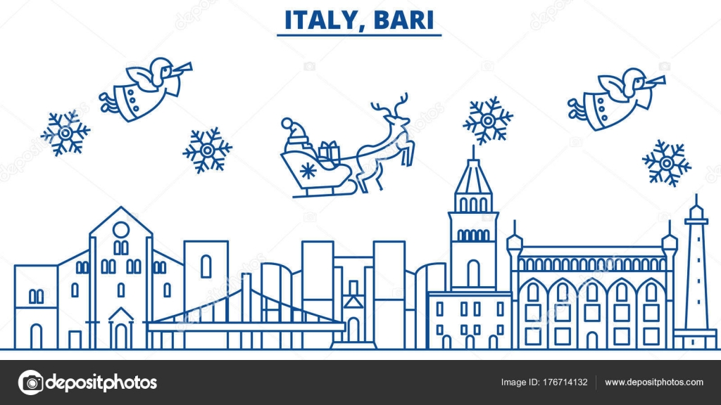 italy bari winter city skyline merry christmas happy new year decorated banner with