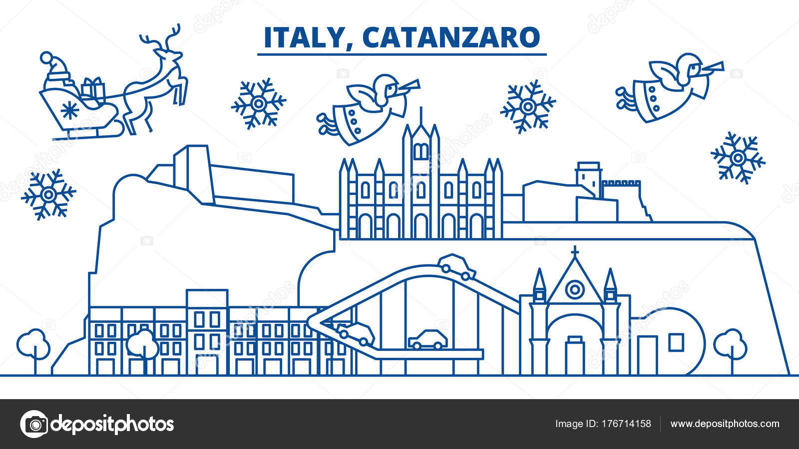 Italy, Catanzaro winter city skyline. Merry Christmas, Happy New ...