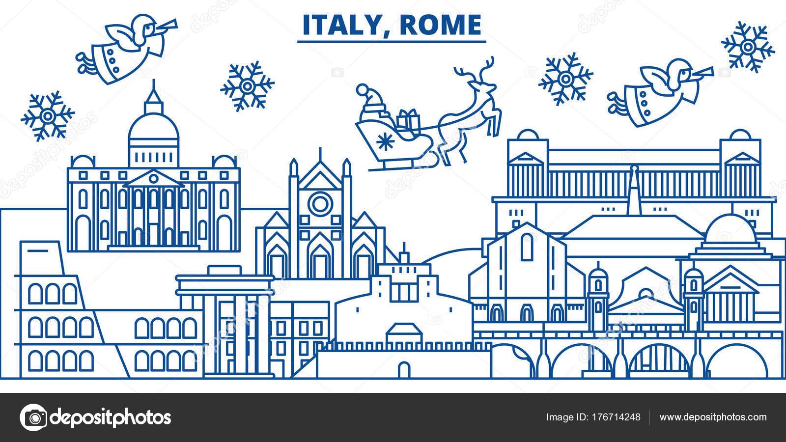 Italien, Rom Winter Skyline der Stadt. Frohe Weihnachten, frohes ...