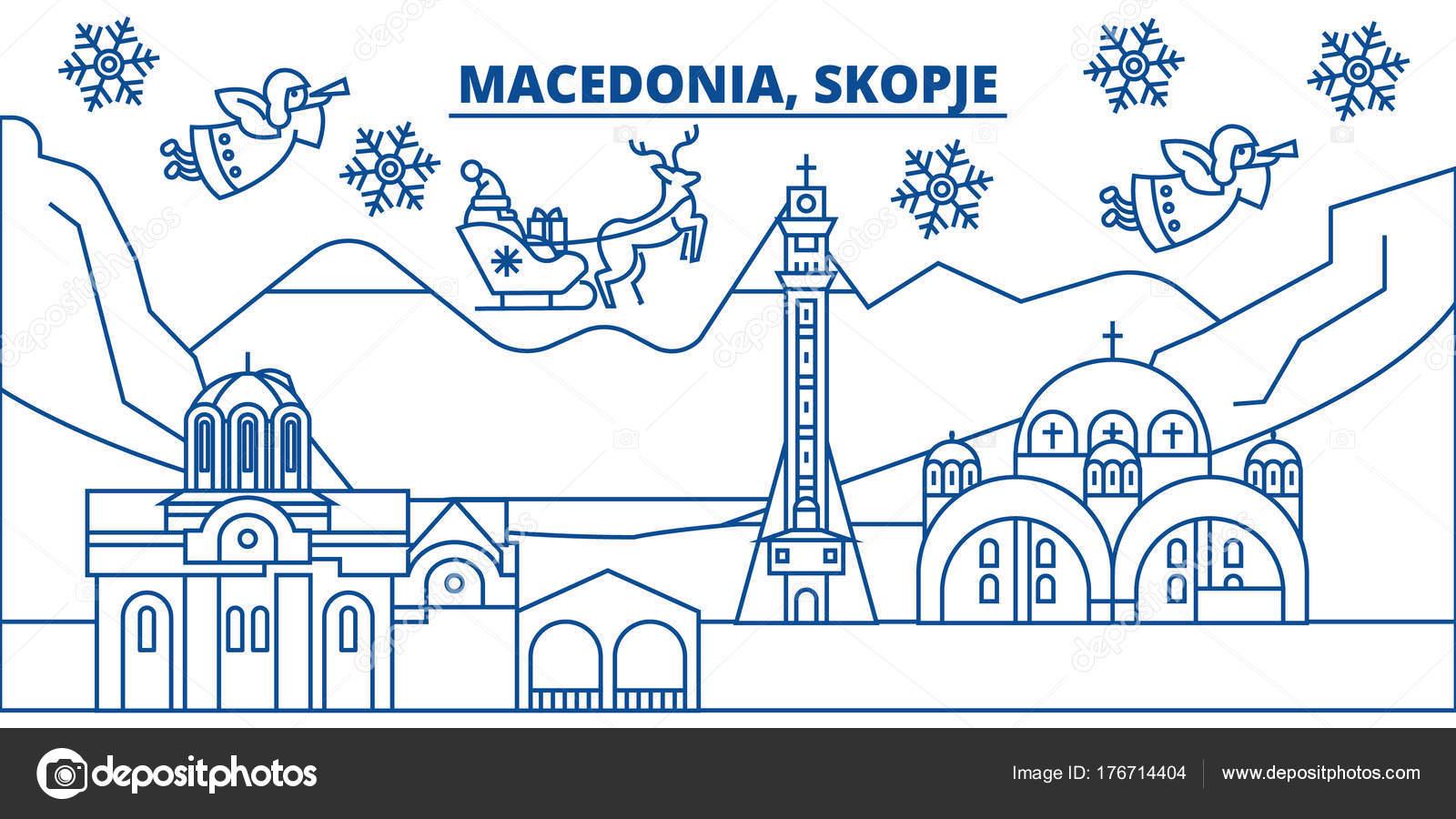 Frohe Weihnachten Mazedonisch.Mazedonien Skopje Winter Skyline Der Stadt Frohe Weihnachten