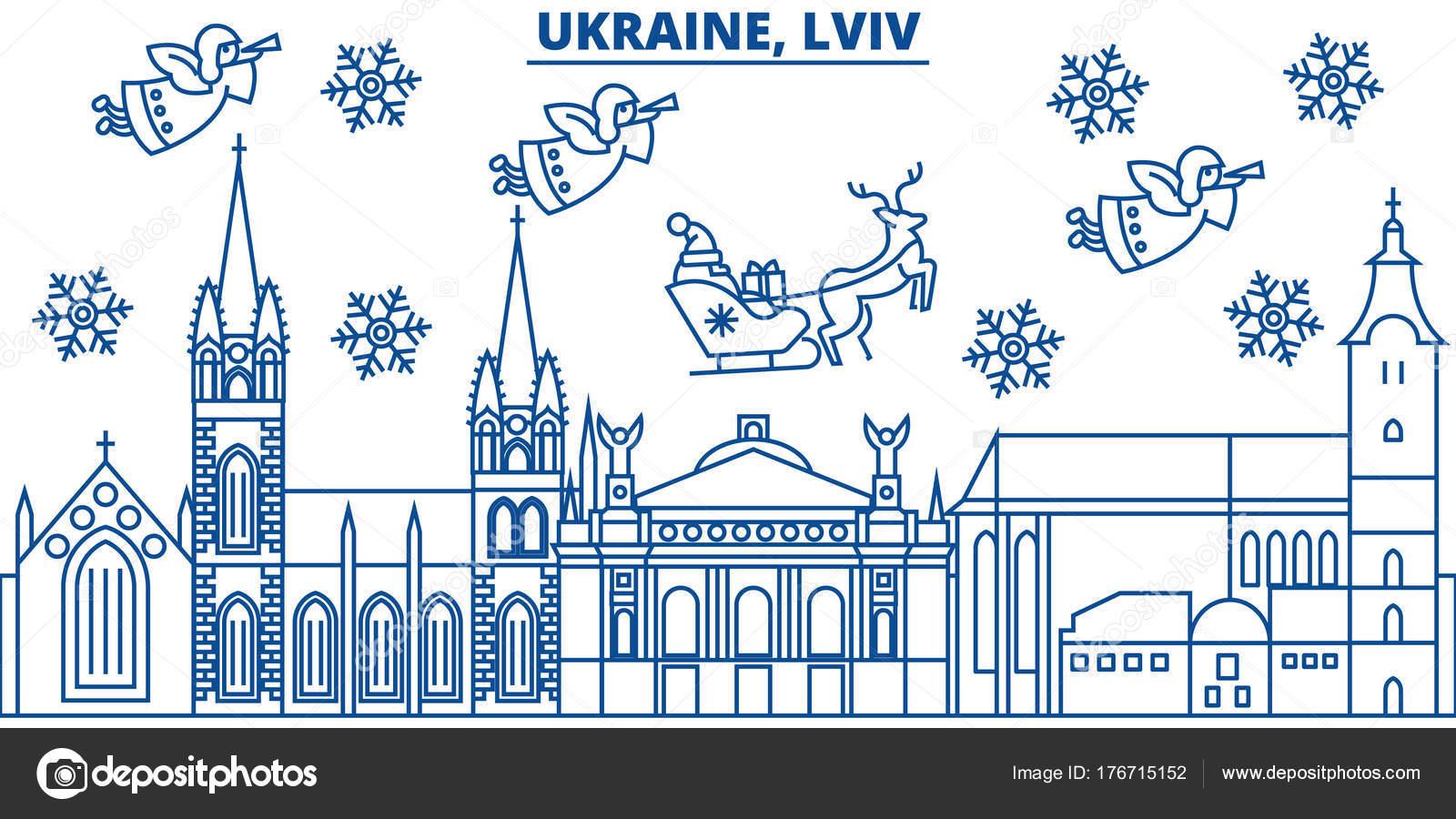 Ucrania, Lviv skyline de ciudad de invierno. Feliz Navidad, feliz ...