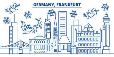 Germany, Frankfurt winter city skyline. Merry Christmas, Happy New Year decorated banner with Santa Claus.Winter greeting line card.Flat, outline vector.Linear christmas snow illustration