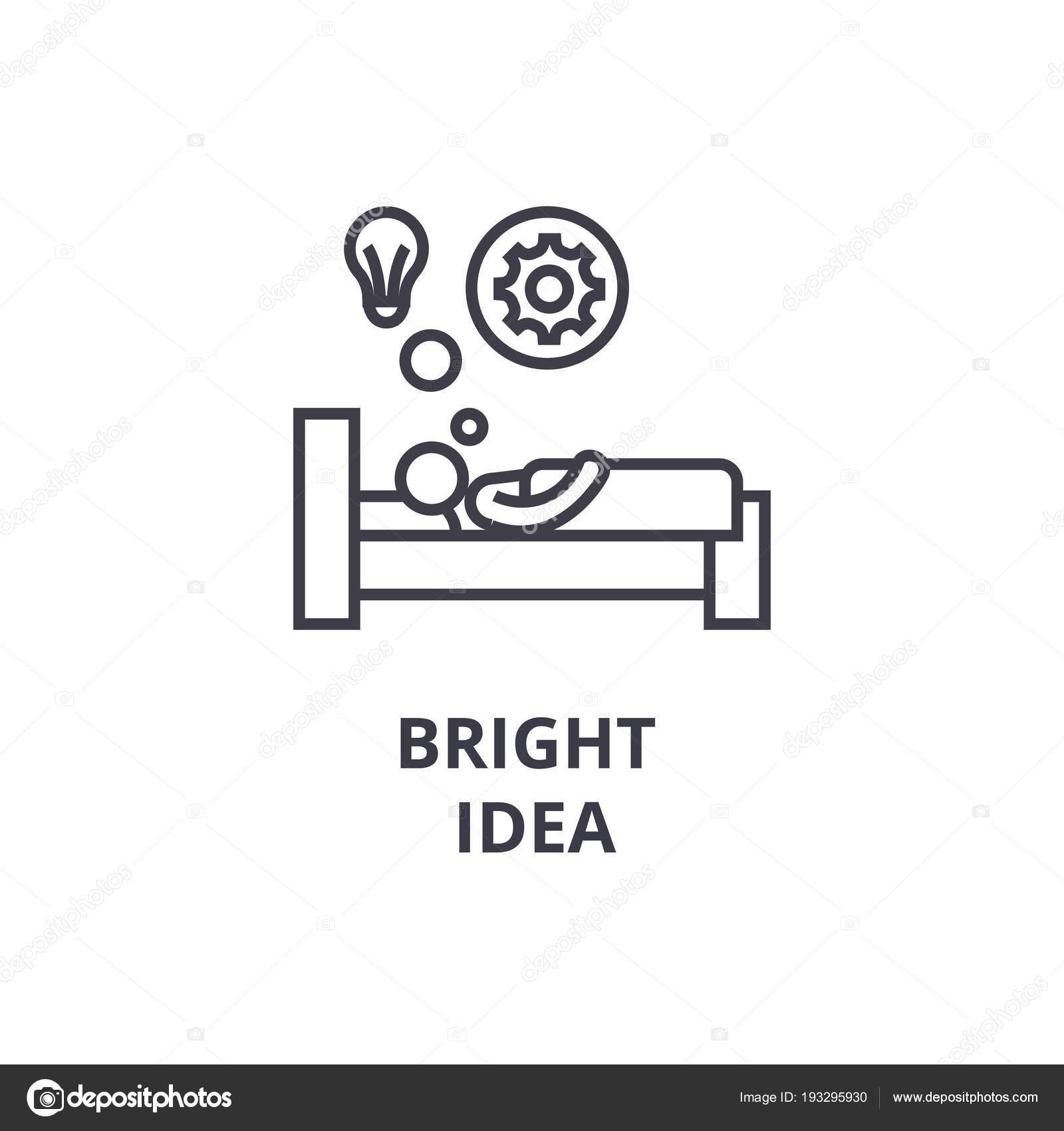 Bright Idea In Bed Thin Line Icon Sign Symbol Illustation Linear Concept Vector By Iconsgraph