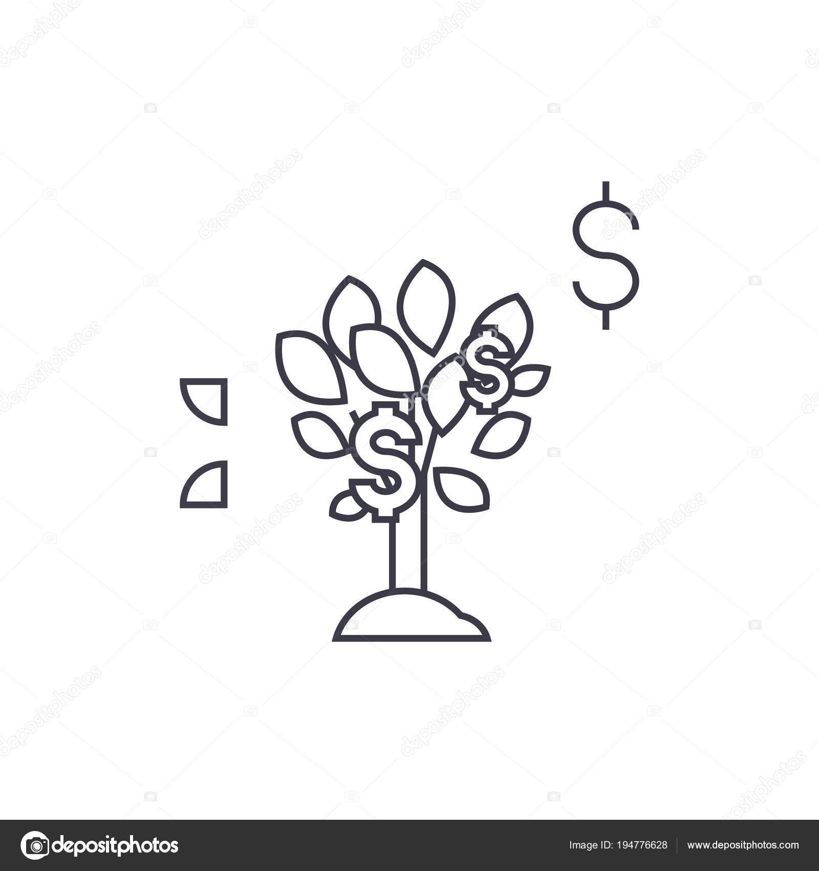 Dollar Tree Vector Line Icon Sign Illustration On Background Editable Strokes Stock