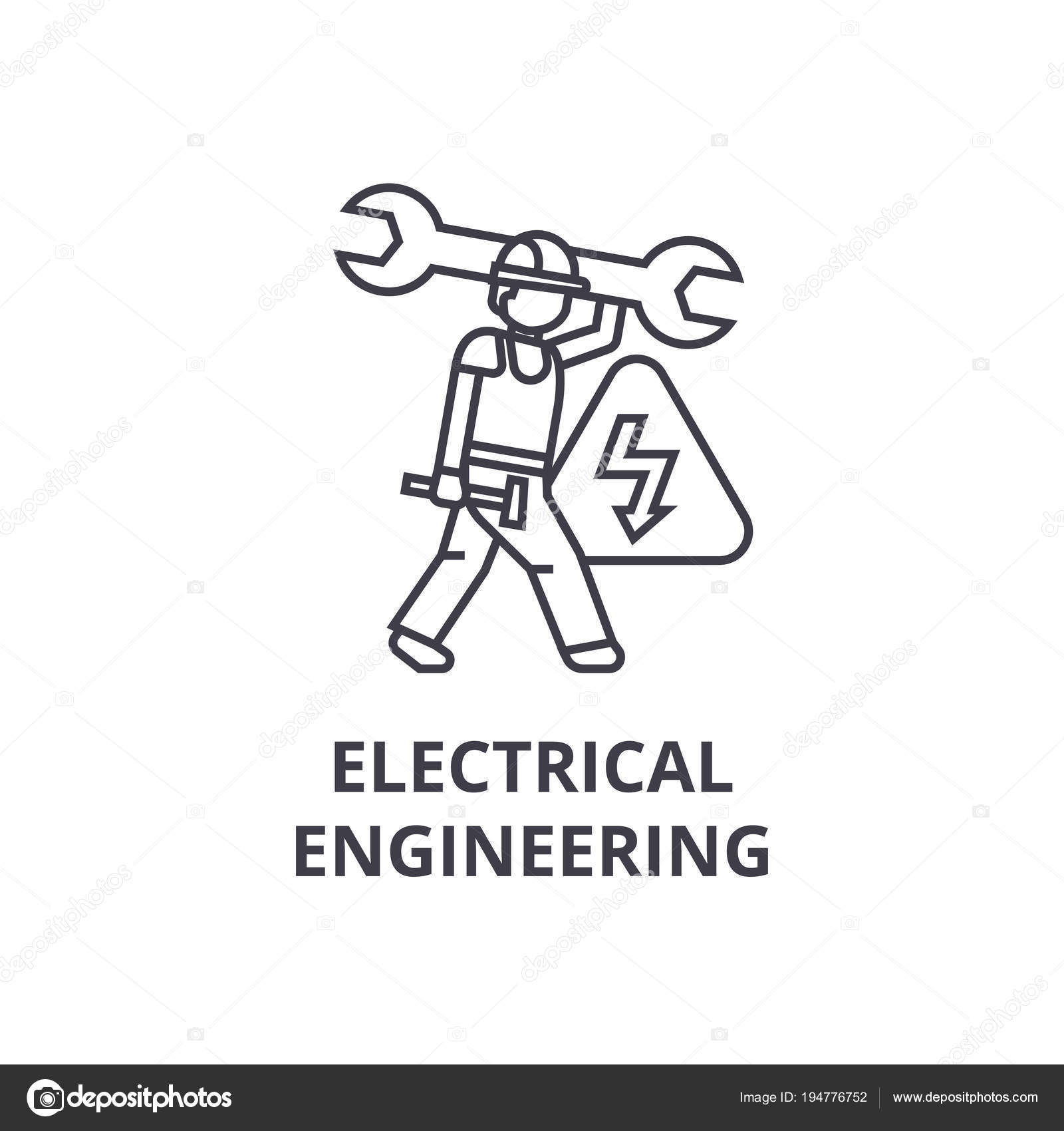 Electrical Engineering Vector Line Icon Sign Illustration On