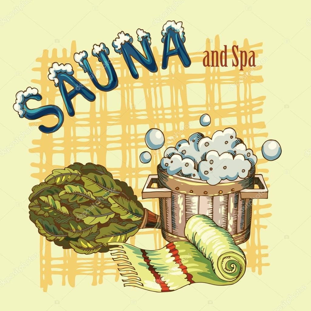 vector image of sauna accessories in background image