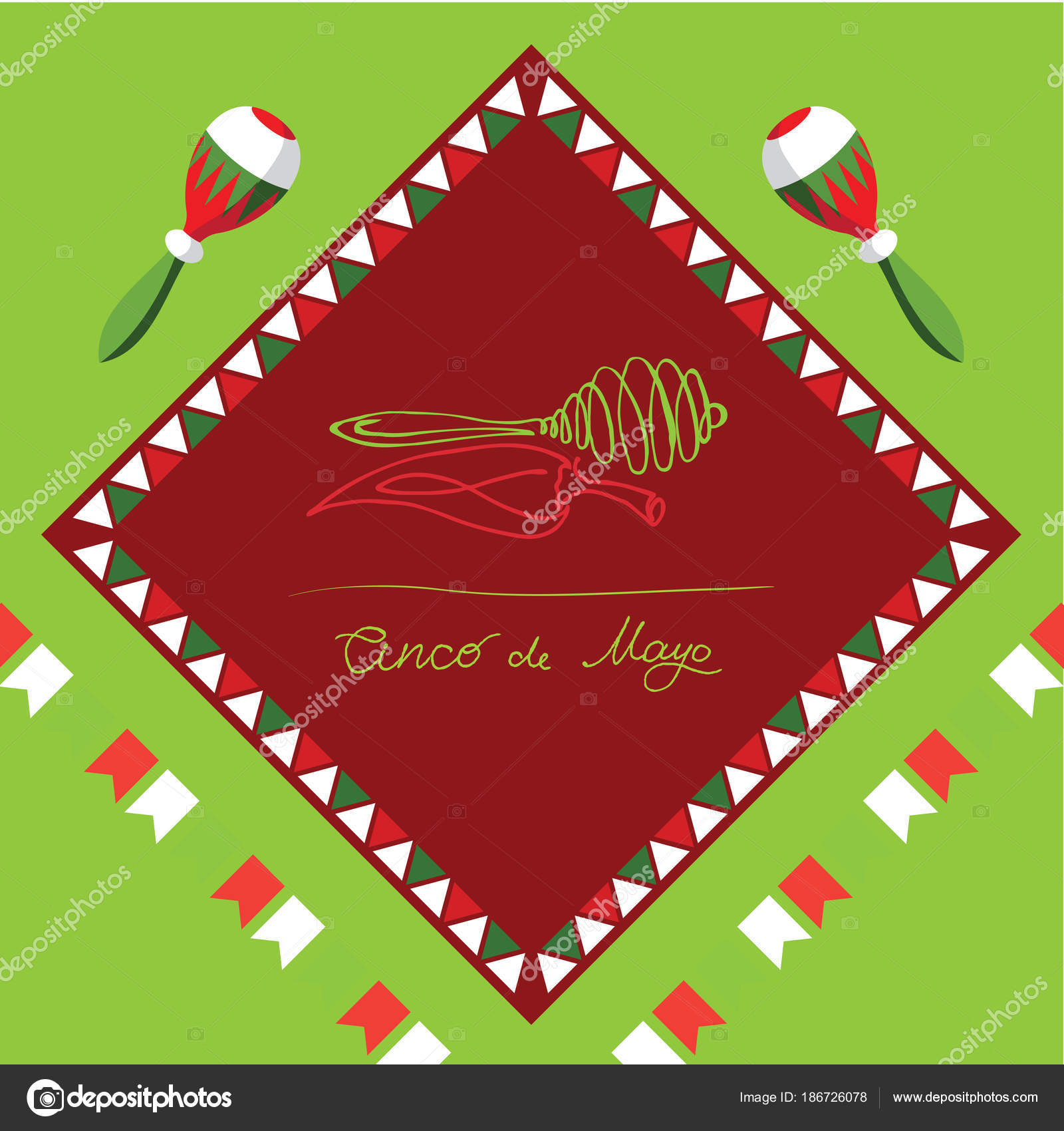 Cinco de mayo mexican fiesta holiday poster banner greeting card cinco de mayo mexican greeting card vector illustration with colorful flags peppers and maracas vector by dvostok m4hsunfo