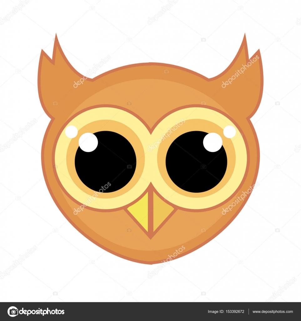 Owl face cartoon | Cartoon icon of an owl face with big ...
