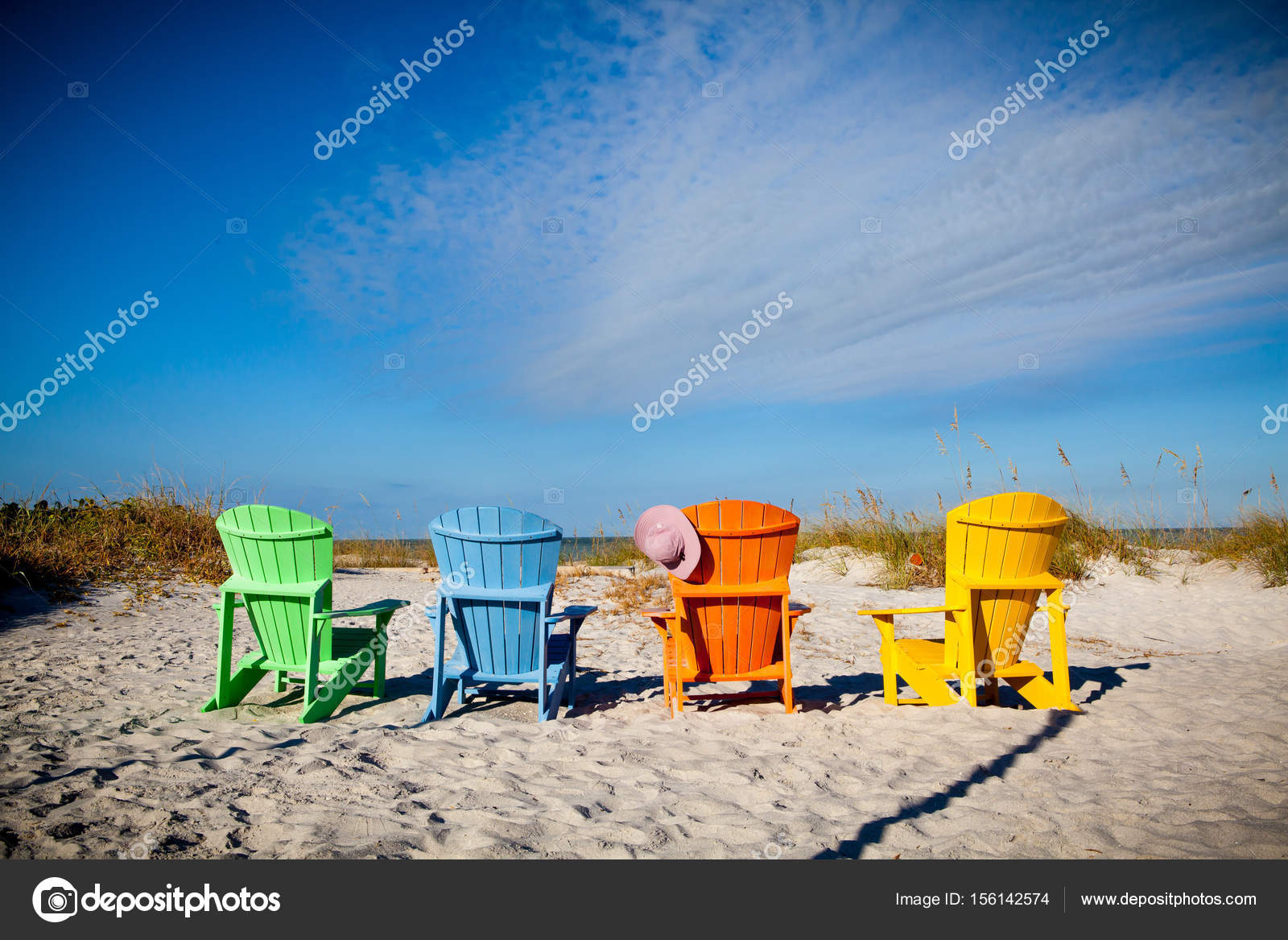 Colorful Adirondack chairs in Florida — Stock Photo ...