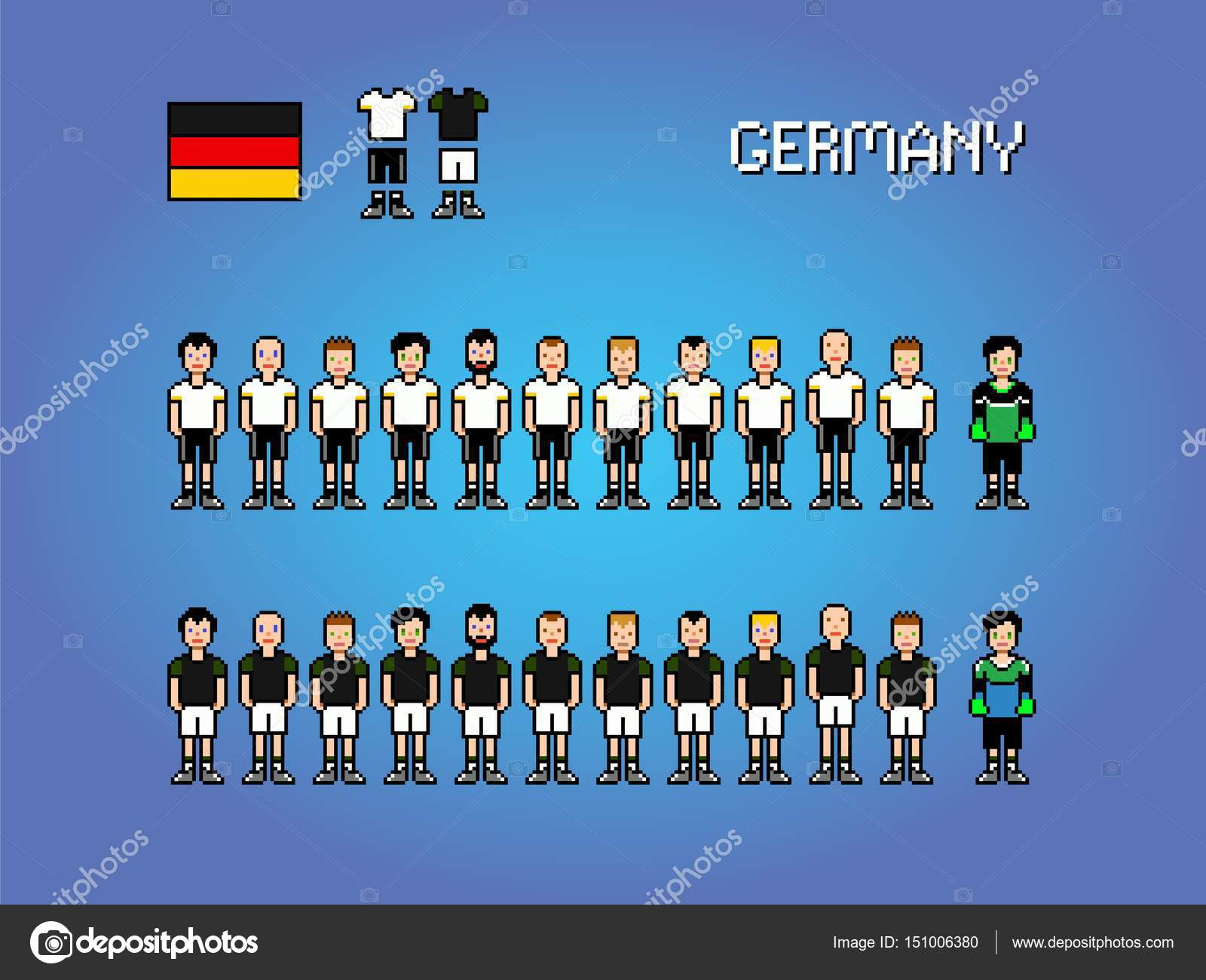 Germany Football Player Uniform Pixel Art Game Illustration