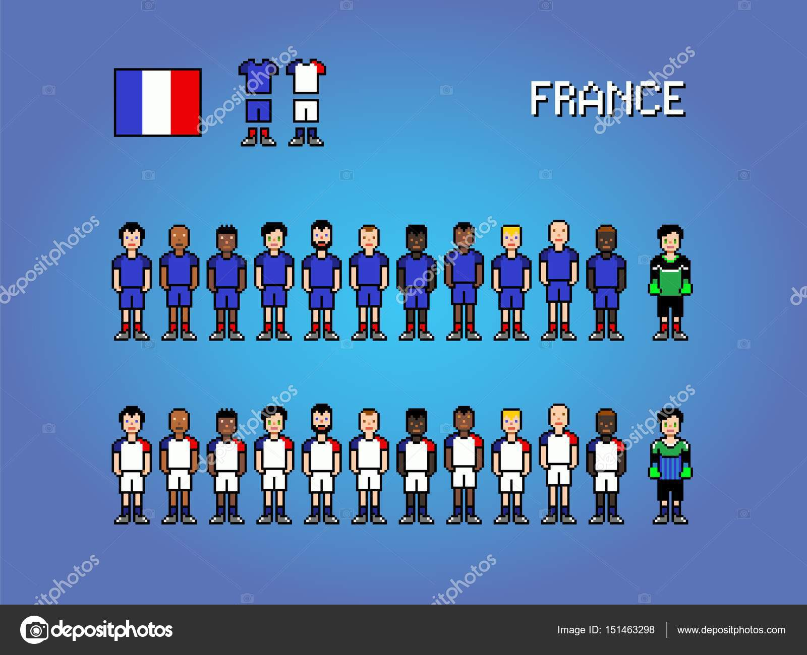 Pixel Art Foot France France National Football Team Pixel