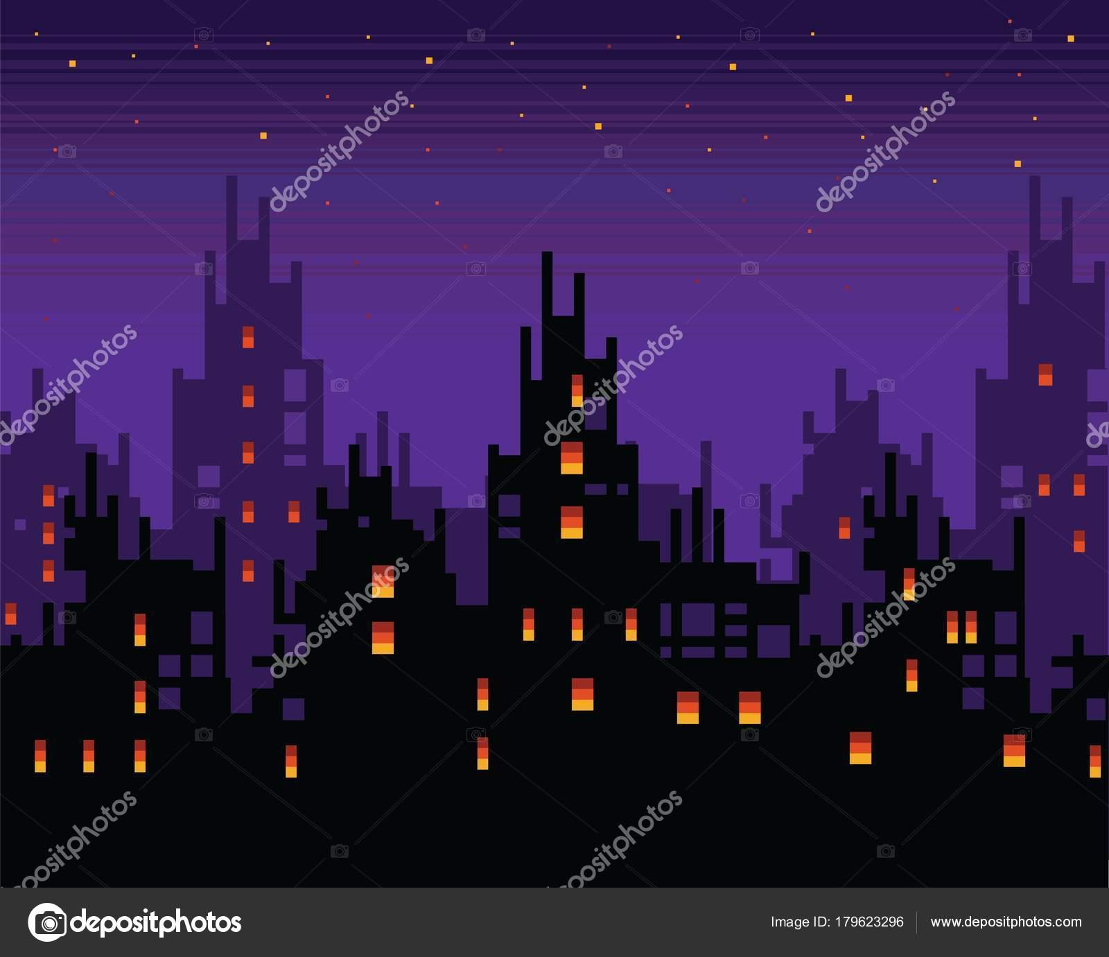 Town Landscape Vector Illustration: Haunted City At Night, Spooky Pixel Art Town Landscape