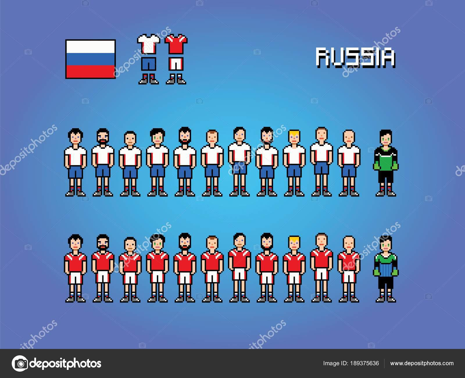 Russia Football Team Player Uniform Pixel Art Game