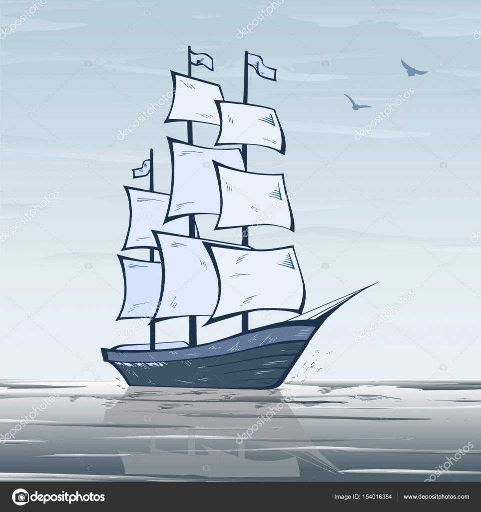 Segelschiff auf der ganzen Welt — Stockvektor ...