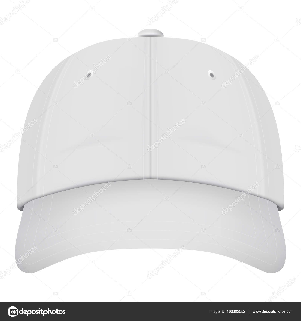 Gorra de béisbol blanca de realista vista frontal aislada sobre fondo  blanco. Ilustración de vector b6a7f811854