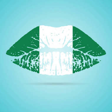 Nigeria Flag Lipstick On The Lips Isolated On A White Background. Vector Illustration.