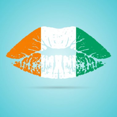 Cote D Ivoire Flag Lipstick On The Lips Isolated On A White Background. Vector Illustration.