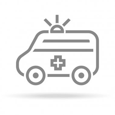 Ambulance Icon In Trendy Thin Line Style Isolated On White Background. Medical Symbol For Your Design, Apps, Logo, UI. Vector Illustration, Eps10.