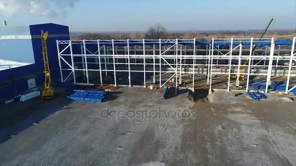 Construcción De Una Gran Planta O Fábrica Industrial Exterior Vista Panorámica Obra Estructura Metálica Maquinaria De Construcción Vista De La Construcción