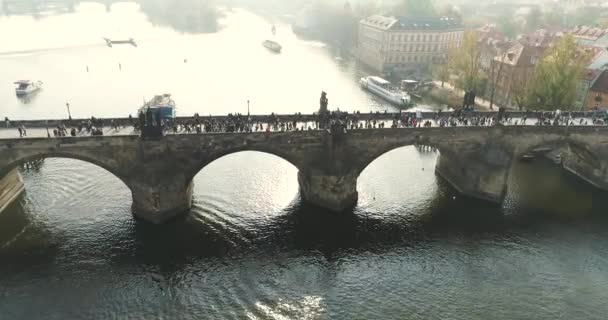Prague, flight over the city, top view, top view of Charles Bridge, Vltava River