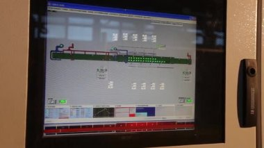 factory dashboard, workers computer controls the operation of machinery in the factory,video clip, control buttons. modern plant, man buys buttons, close-up, interior, indoors