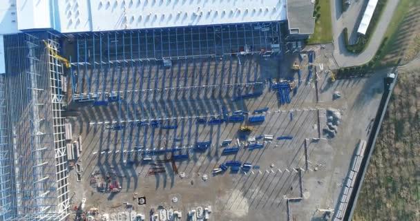 Építése egy nagy ipari épület vagy gyár, ipari épület külső, modern ipari külső, panorámás, Nézd a levegőből