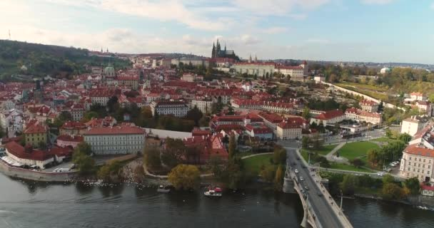 Panorama of Prague, aerial of the city, view from above on the cityscape of Prague, flight over the city, Area Old Town, Prague Castle and Vltava River, Czech Republic, Prague