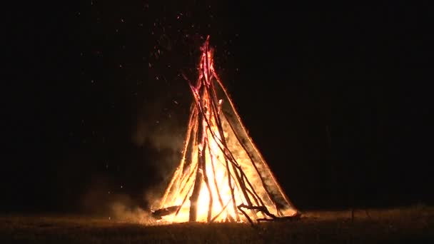 night fire sparks flying in the dark night sky, big night bonfire in a clearing in the forest
