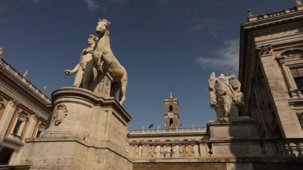 Antique figures in front of the palace of senators Rome Italy. Figures of the Tiber and the Nile.