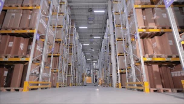 Sok ember dolgozik egy raktár időkörében, egy nagy raktár idővonalai, sok nagy felszerelés egy raktárban.