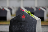 Bucharest, Romania - February 21, 2020: Graves in the Red Army Cemetery in Bucharest during a cold and rainy winter day.