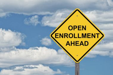Caution Sign Blue Sky - Open Enrollment Ahead