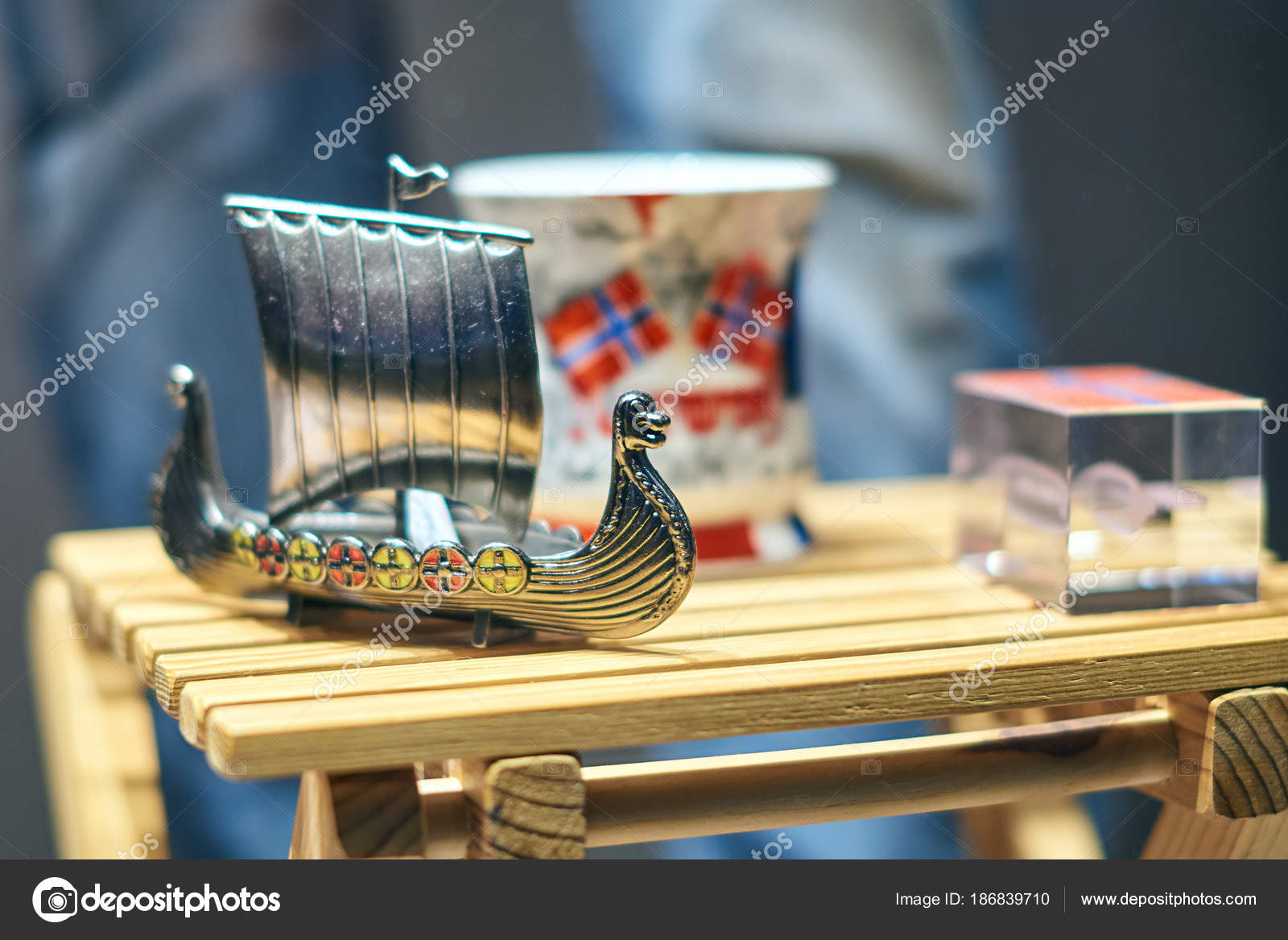 Metal Viking Toy Ship Also Known As Karve Or Knarr And Traditional