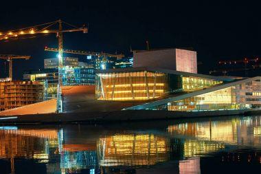 Night view of architectural award-winning National Oslo Opera House, Norway