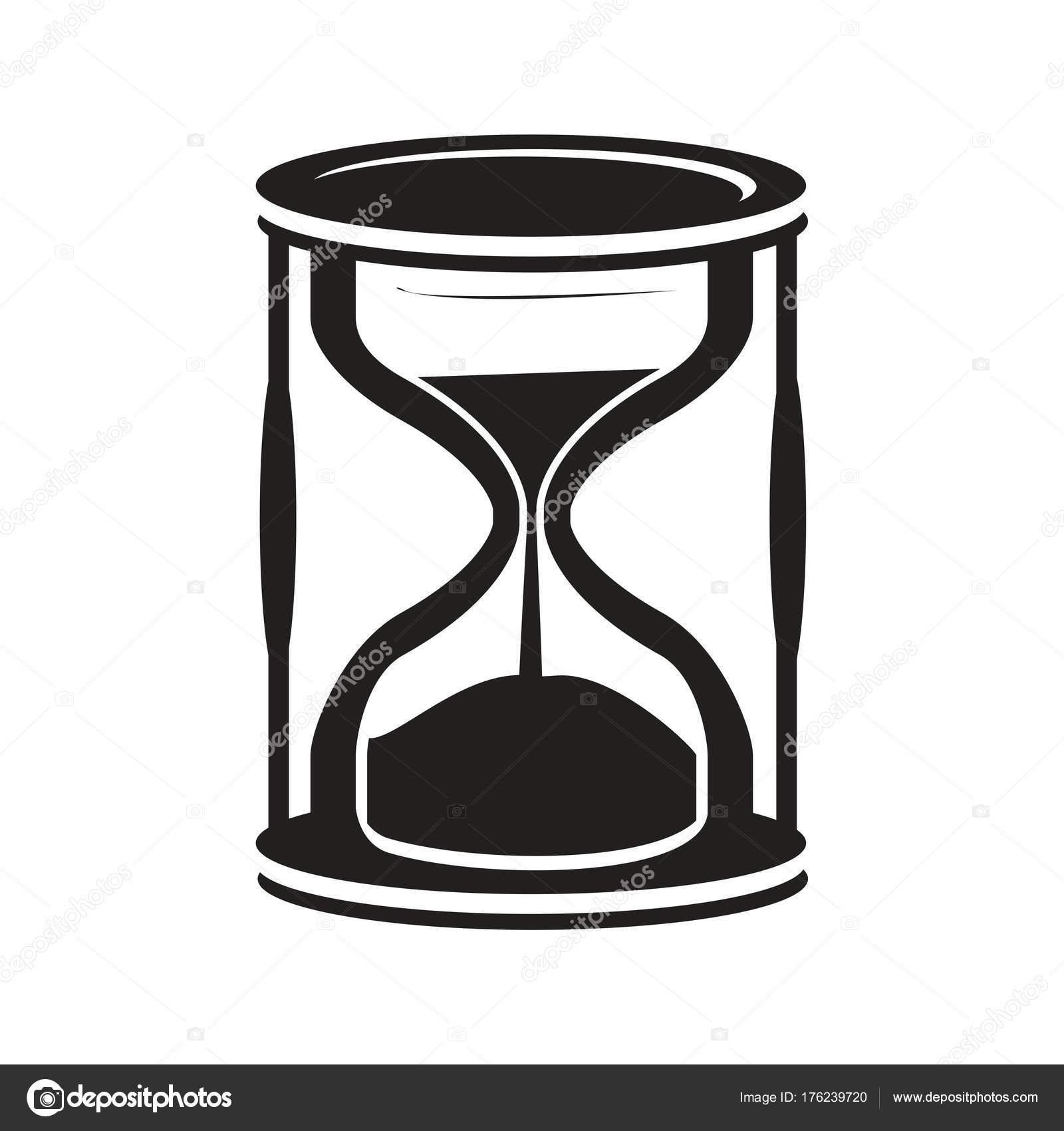 Icono Reloj Arena Negro Aislado Sobre Fondo Blanco Archivo